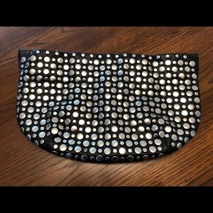 Nine West Silver Studded Leather Clutch